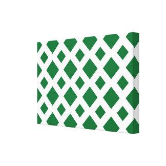 Green Diamonds on White Canvas Print