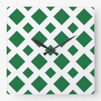 Green Diamonds on White Square Wall Clocks