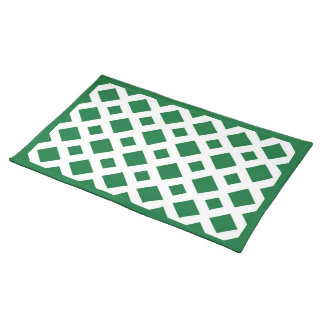 Green Diamonds on White Cloth Placemat