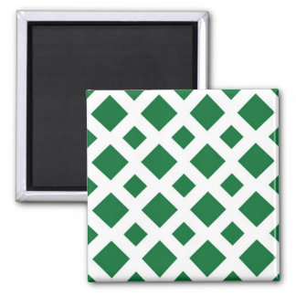 Green Diamonds on White Refrigerator Magnets