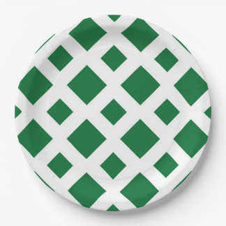 Green Diamonds on White Paper Plate