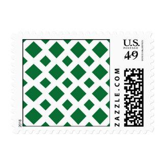 Green Diamonds on White Postage