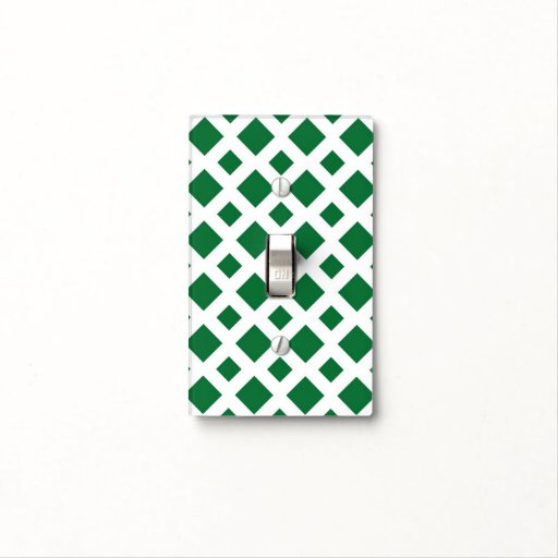Green Diamonds on White Switch Plate Cover