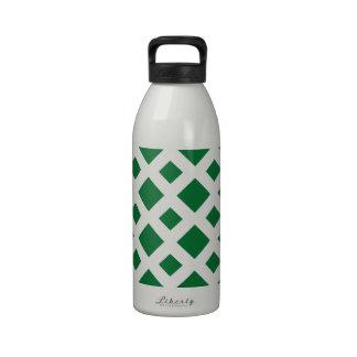 Green Diamonds on White Water Bottle