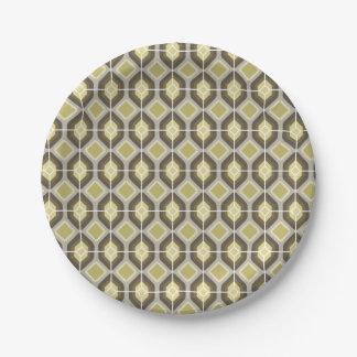 Green diamonds paper plate
