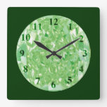 Green Diamonds Wall Clock Square