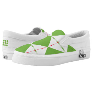 Green Diamonds with Red Lines Slip-On Sneakers