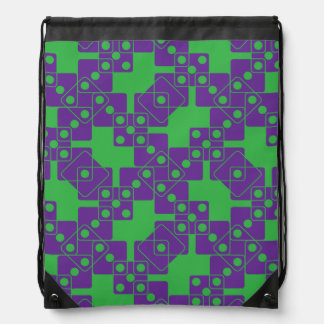 Green Dice Drawstring Backpack