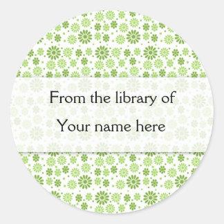 Green Digital Flowers Personalized Bookplates
