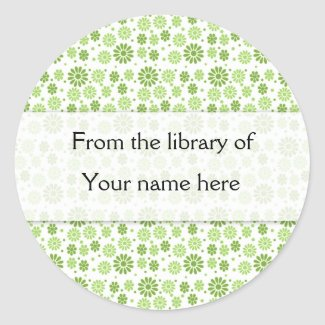 Green Digital Flowers Personalized Bookplates sticker