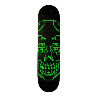 Green DIgitial Binary Skull Skateboard