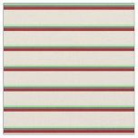[ Thumbnail: Green, Dim Grey, Dark Red & Bisque Stripes Fabric ]