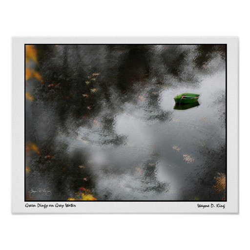 Green Dingy on Grey Water Poster
