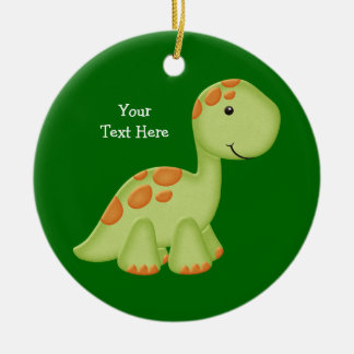 Green Dino (customizable) Double-Sided Ceramic Round Christmas Ornament