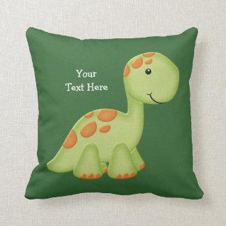 Green Dino (customizable) Throw Pillow
