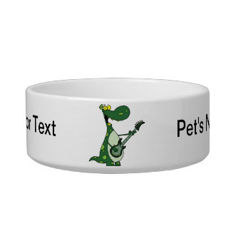 green dino holding guitar graphic bowl