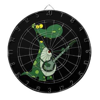 green dino holding guitar graphic dartboard