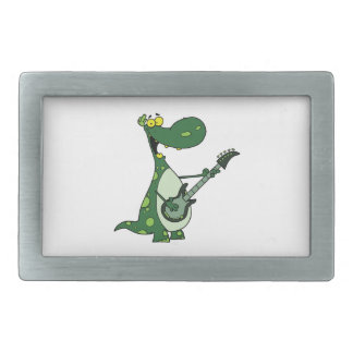 green dino holding guitar graphic rectangular belt buckle