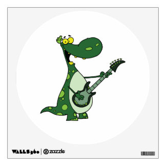 green dino holding guitar graphic room graphic