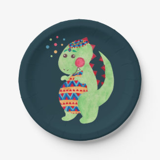 Green Dino Paper Plate