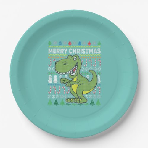 Green Dino Wildlife Merry Christmas Ugly Sweater Paper Plate