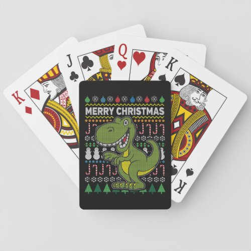 Green Dino Wildlife Merry Christmas Ugly Sweater Playing Cards