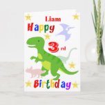 "Green Dinosaur 3rd Birthday Card<br><div class=""desc"">A fun 3rd birthday card! This bright third birthday card features dinosaurs and some stars with a colorful Happy Birthday text. A cute design for someone who will be three years old. The birthday age and the child's name on the front of the card can be changed to customize it...</div>"