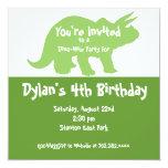 "Green Dinosaur Birthday Party Invitations 5.25"" Square Invitation Card"