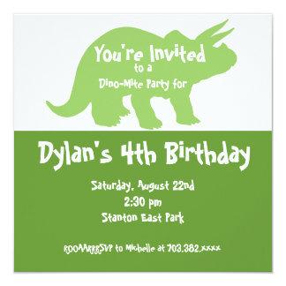 Green Dinosaur Birthday Party Invitations