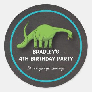 Green Dinosaur Chalkboard Birthday Boy Stickers