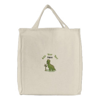 Green Dinosaur Embroidered Tote Bag