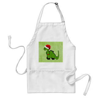 Green Dinosaur in a Santa Hat for Christmas Adult Apron