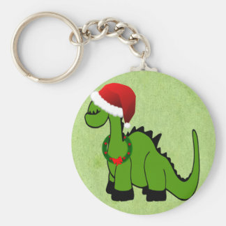 Green Dinosaur in a Santa Hat for Christmas Basic Round Button Keychain