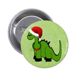 Green Dinosaur in a Santa Hat for Christmas Button