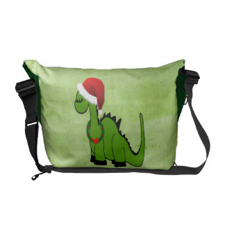 Green Dinosaur in a Santa Hat for Christmas Courier Bag