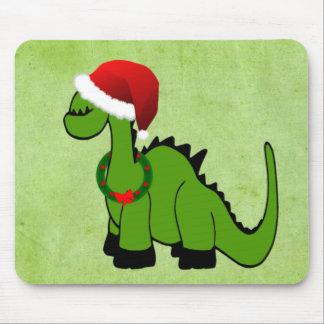 Green Dinosaur in a Santa Hat for Christmas Mousepad