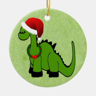 Green Dinosaur in a Santa Hat for Christmas Double-Sided Ceramic Round Christmas Ornament