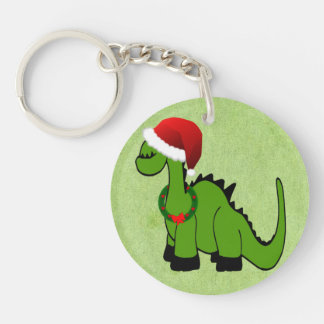 Green Dinosaur in a Santa Hat for Christmas Single-Sided Round Acrylic Keychain