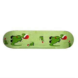 Green Dinosaur in a Santa Hat for Christmas Custom Skate Board