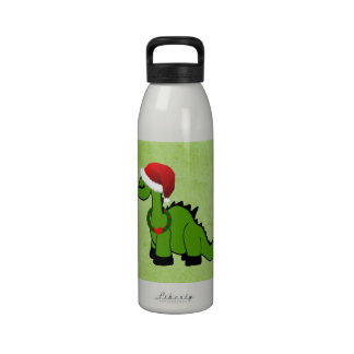Green Dinosaur in a Santa Hat for Christmas Water Bottles
