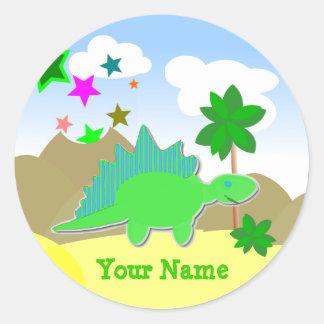 Green Dinosaur Name Stickers