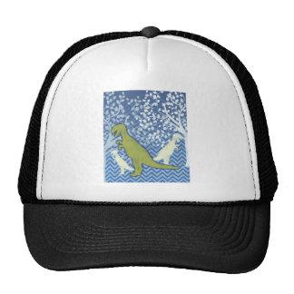 Green Dinosaur on Zigzag Chevron - Blue and White Trucker Hat