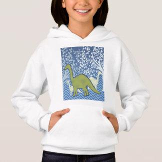 Green Dinosaur on Zigzag Chevron - Blue and White Hoodie
