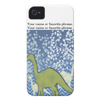 Green Dinosaur on Zigzag Chevron - Blue and White iPhone 4 Cover