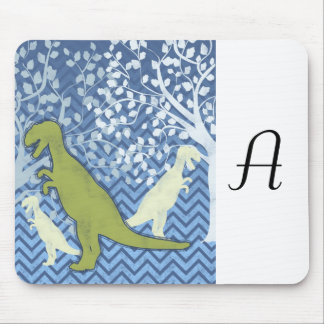 Green Dinosaur on Zigzag Chevron - Blue and White Mouse Pad