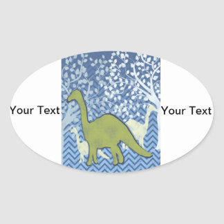 Green Dinosaur on Zigzag Chevron - Blue and White Oval Sticker