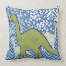 Green Dinosaur on Zigzag Chevron - Blue and White Pillows