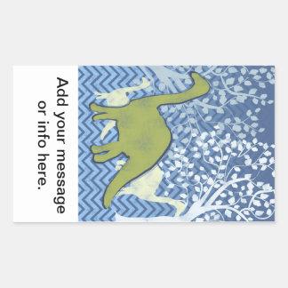 Green Dinosaur on Zigzag Chevron - Blue and White Rectangular Sticker