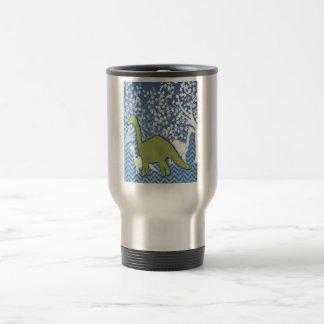 Green Dinosaur on Zigzag Chevron - Blue and White Travel Mug
