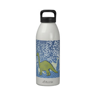 Green Dinosaur on Zigzag Chevron - Blue and White Drinking Bottles